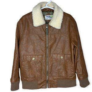 Oshkosh Genuine kids Faux leather bomber jacket size 5T